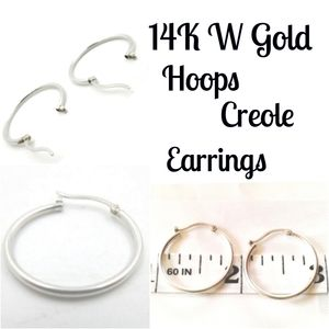 14K White Gold Hoop Creoles Round Earrings